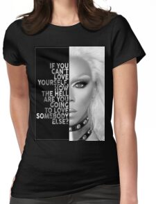 Ru Paul Text Portrait Womens Fitted T-Shirt