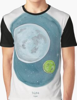 Haruki Murakami's 1Q84 // Novel Illustration of Two Moons in a Night Sky in Pencil & Watercolour Graphic T-Shirt