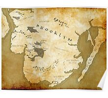 Brooklyn Map-Gold Poster