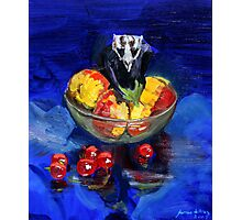 Possum scull on fruit in glass bowl on blue with cherry tomatoes Photographic Print