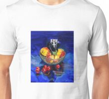 Possum scull on fruit in glass bowl on blue with cherry tomatoes Unisex T-Shirt