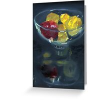Quinces and pomegranate reflected in glass bowl Greeting Card