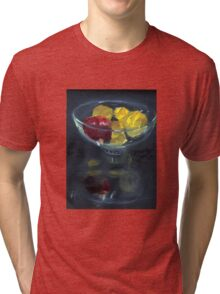 Quinces and pomegranate reflected in glass bowl Tri-blend T-Shirt