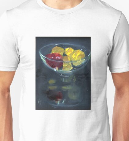 Quinces and pomegranate reflected in glass bowl Unisex T-Shirt
