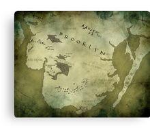 Brooklyn Map-Green Canvas Print