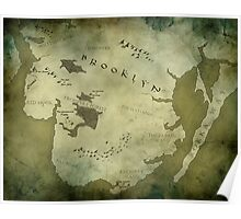 Brooklyn Map-Green Poster
