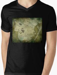 Brooklyn Map-Green Mens V-Neck T-Shirt