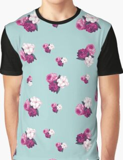 Roses, Flowers, Blooms, Leaves - Pink Green Blue Graphic T-Shirt