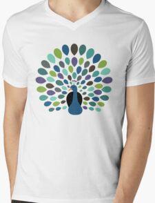 Peacock Time Mens V-Neck T-Shirt