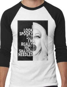 Sharon Needles Text Portrait Men's Baseball ¾ T-Shirt