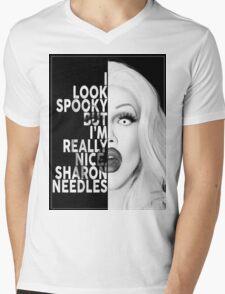 Sharon Needles Text Portrait Mens V-Neck T-Shirt