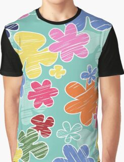 Tropical Flowers, Petals - Pink Green Blue Yellow  Graphic T-Shirt