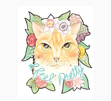I Feel Pretty // Watercolour Illustration of a Ginger Cat Surrounded by Flowers Unisex T-Shirt