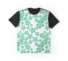 Flowers, Petals, Blossoms - Green Blue White Graphic T-Shirt