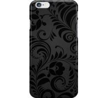 Flowers, Petals, Leaves, Swirls - Gray Black iPhone Case/Skin