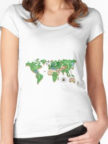 Mario World Map Women's Fitted Scoop T-Shirt