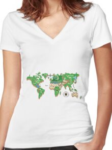 Mario World Map Women's Fitted V-Neck T-Shirt