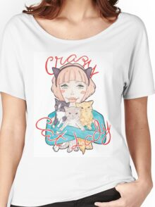 Crazy Cat Lady // A Pink-Haired Girl with her Three Cats Women's Relaxed Fit T-Shirt