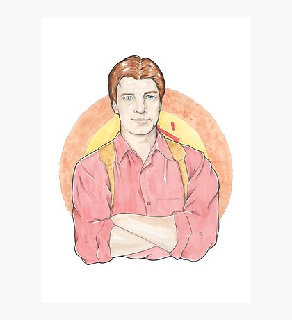 Watercolour Fanart Illustration of Malcolm 'Mal' Reynolds from Joss Whedon's Firefly Photographic Print