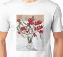 Red gum blossums in glass vase on white Unisex T-Shirt