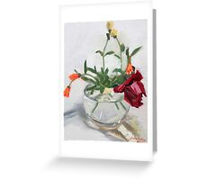 round bowl and flowers Greeting Card