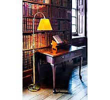 Dunham Massey -Library- table and lamp Photographic Print