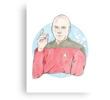 Watercolour Fanart Illustration of Captain Jean-Luc Picard from Star Trek: The Next Generation Canvas Print