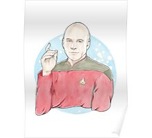Watercolour Fanart Illustration of Captain Jean-Luc Picard from Star Trek: The Next Generation Poster