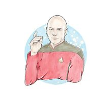 Watercolour Fanart Illustration of Captain Jean-Luc Picard from Star Trek: The Next Generation Photographic Print