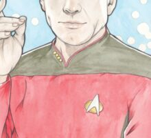 Watercolour Fanart Illustration of Captain Jean-Luc Picard from Star Trek: The Next Generation Sticker
