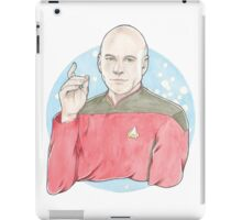 Watercolour Fanart Illustration of Captain Jean-Luc Picard from Star Trek: The Next Generation iPad Case/Skin