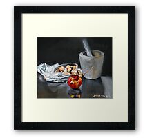 Mortar and pestle bag of almonds and pomegranate  Framed Print