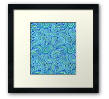 Abstract Blue Waves Pattern Framed Print