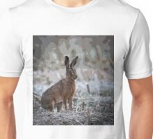 Alert hare sitting in a cropped field Unisex T-Shirt
