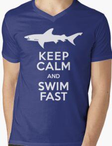 Keep Calm and Swim Fast Funny Mens V-Neck T-Shirt