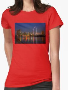Beautiful Singapore Skyline by Night Womens Fitted T-Shirt