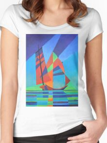 Cubist Abstract Junk Boat Against Deep Blue Sky Women's Fitted Scoop T-Shirt