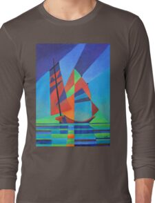 Cubist Abstract Junk Boat Against Deep Blue Sky Long Sleeve T-Shirt