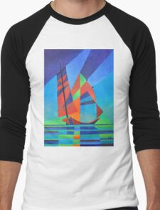 Cubist Abstract Junk Boat Against Deep Blue Sky Men's Baseball ¾ T-Shirt