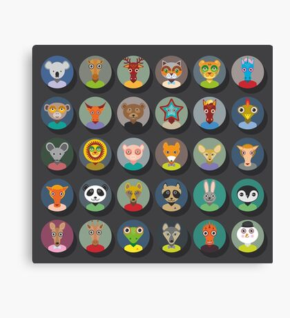 Set of animal faces Canvas Print