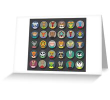 Set of animal faces Greeting Card