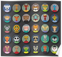 Set of animal faces Poster