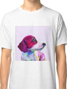 Buddy Portrait of a young dog, puppy in neon colours. Classic T-Shirt