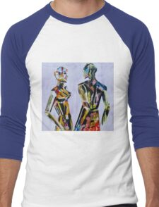 Do you come here often, Painting of mannequin,robotic style models interacting. Men's Baseball ¾ T-Shirt