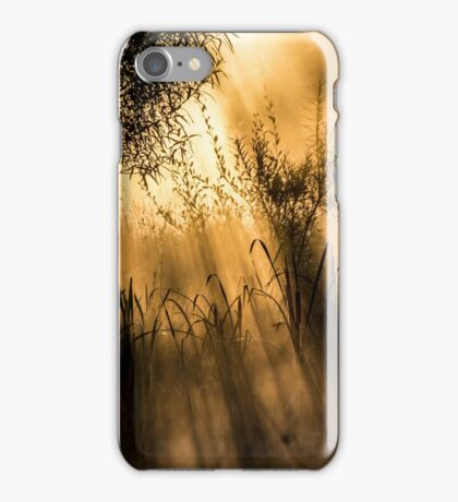Early morning sun rays on a cold misty morning,  iPhone Case/Skin