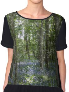 painting style image of bluebell wood in spring Chiffon Top