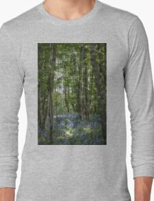 painting style image of bluebell wood in spring Long Sleeve T-Shirt
