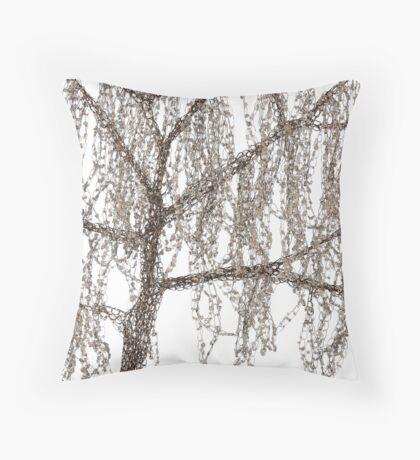 Winter willow tree Throw Pillow