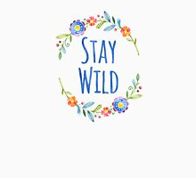 Stay Wild Watercolor Floral Typography Unisex T-Shirt