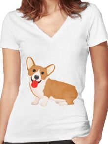 Cute dog staring Women's Fitted V-Neck T-Shirt